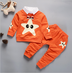 Kids Boys Clothing Set Baby Outfit Top+Pants Sport clothes orange 80