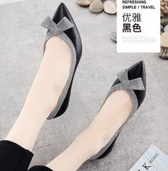 Women's low-heeled women's shoes black comfortable stiletto office shoes black 34