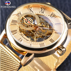 Watches men fashion casual mesh belt with hollow gold manual mechanical watch a1 a