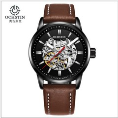 New watches automatic mechanical hollow tourbillon men's fashion watch brown a