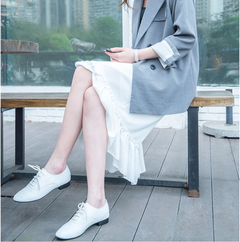 High quality leather white shoes women 2019 new wild soft sole shoes women's shoes