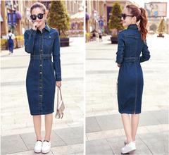 Retro long slim slimming dresses bag hip denim dress female long sleeves s As shown