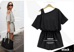 Women's clothing new one-shoulder design sense asymmetrical jumpsuit l black