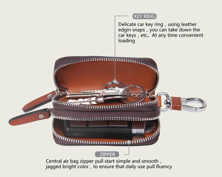 Genuine Leather Car Key Holder For Men Business Key Wallet Housekeeper Keys Male Zipper Door Key coffee a