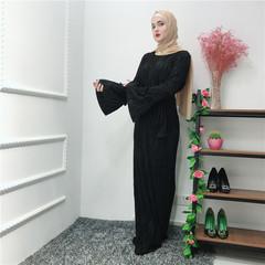 Muslim Wrinkled Pencil Skirt Pliss Maxi Dress Trumpet Sleeve Abaya Long Robes Tunic Islamic Clothing s black