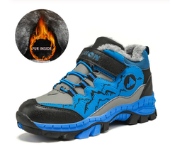 2019 Children Outdoor Sports Hiking Shoes, Boy Walking Anti-Skid Claw Trekking Shoes,Kids Wear Fur blue 31