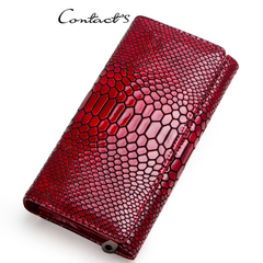 Women Clutch Wallets Genuine Leather Snake Pattern Print Long Coin Purse Female Cell Phone Bag red 19*10*3cm