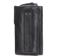 Genuine Cow Leather Mini Key Wallets Purse With Interior Key Chain Holder Housekeeper Case black 12*7*1.5cm