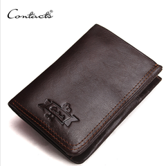 Genuine Leather Wallet Men Vintage Brand Money Bag Zip Coin Purse Wallets Bifold High Quality coffee a