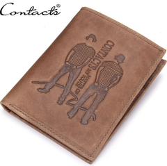 Popular Cowhide Leather Men's Money Wallets Fashion Horizontal Wallet For Men Handy Double-Human coffee a