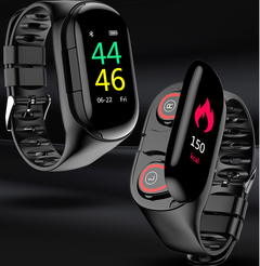Smart Watch Bluetooth Headphone &headsets Hate Rate Blood Pressure Monitor  Fitness Tracker Bracelet black one
