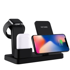 10W Qi Wireless Charger 3 in 1 Fast Charging for Apple Watch 1 2 3 4 Charge Dock Station black A one