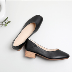 Single shoes thick heel shoes 2019 simple leather women's shoes black 35