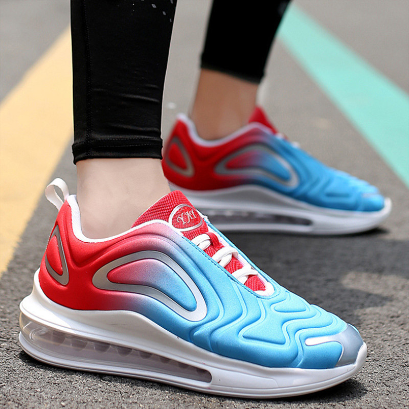 2019 autumn breathable full palm cushion sports shoes one male and one female couple running shoes black blue 42 13