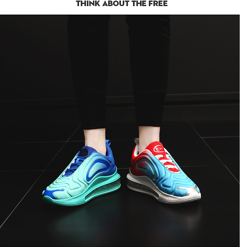 2019 autumn breathable full palm cushion sports shoes one male and one female couple running shoes black blue 42 16