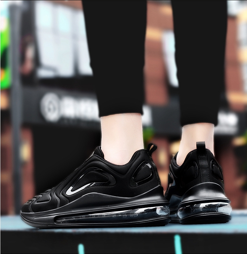 2019 autumn breathable full palm cushion sports shoes one male and one female couple running shoes black blue 42 21