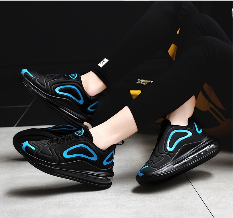 2019 autumn breathable full palm cushion sports shoes one male and one female couple running shoes black blue 42 6