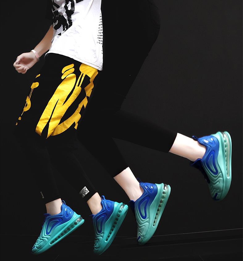 2019 autumn breathable full palm cushion sports shoes one male and one female couple running shoes black blue 42 14