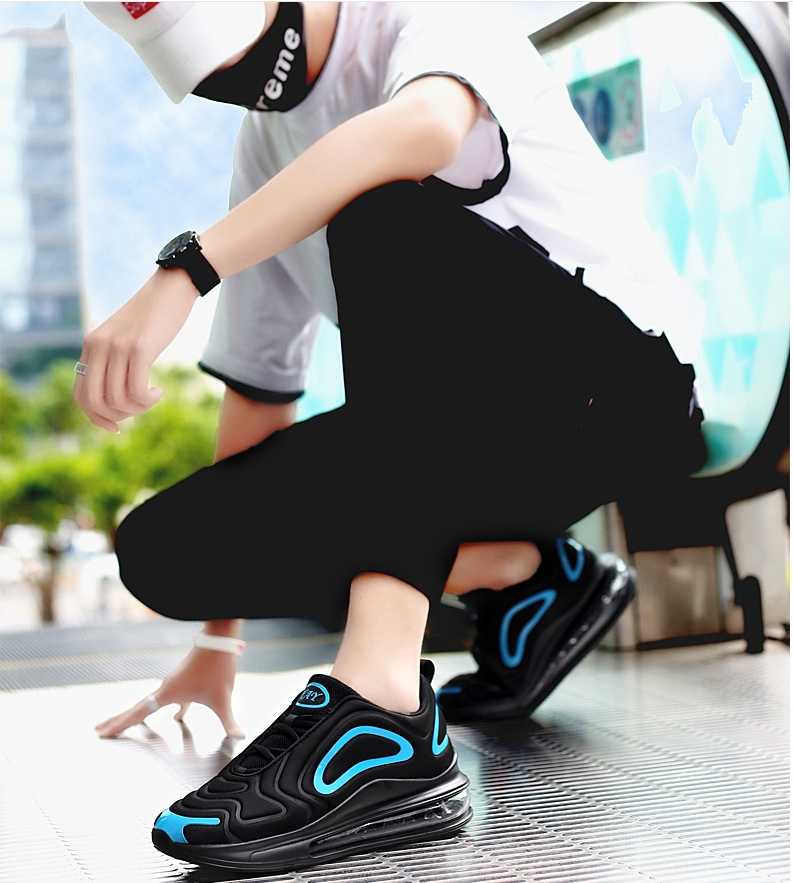 2019 autumn breathable full palm cushion sports shoes one male and one female couple running shoes black blue 42 3