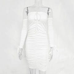 Autumn and winter bandage dress women's sexy strapless long-sleeved slim stretch tight dress s white