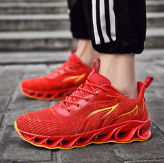 men's shoes blade flying woven mesh shoes flame running shoes breathable shock absorbing shoes red 39