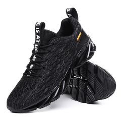 Flying woven mesh mesh shoes breathable shock absorption lightweight running shoes gym sneakers black 39