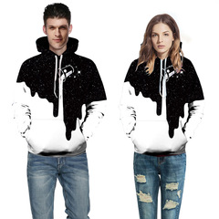 Fashion milk cup pattern digital printing sweater casual hooded couple baseball clothes white + black 1pcs