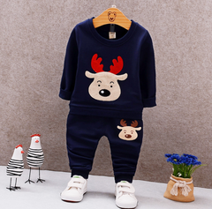 New boy two clothes suit children's sports clothing baby suit blun 80