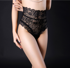 Sexy Panties Women High Waist Lace Thongs and G Strings Underwear Ladies Hollow Out Underpants black s