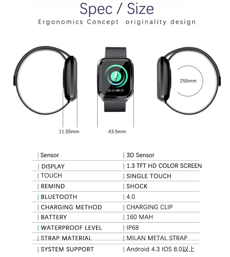New L18 smart bracelet 1.3 color screen full metal heart rate blood pressure IP68 pedometer sleep silvery steel one 15
