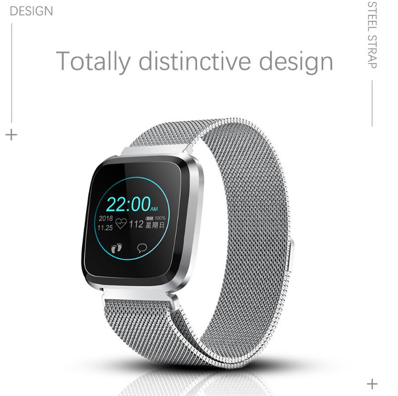 New L18 smart bracelet 1.3 color screen full metal heart rate blood pressure IP68 pedometer sleep silvery steel one 1