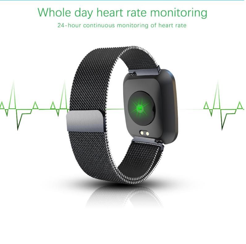 New L18 smart bracelet 1.3 color screen full metal heart rate blood pressure IP68 pedometer sleep silvery steel one 5