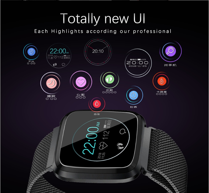 New L18 smart bracelet 1.3 color screen full metal heart rate blood pressure IP68 pedometer sleep silvery steel one 14