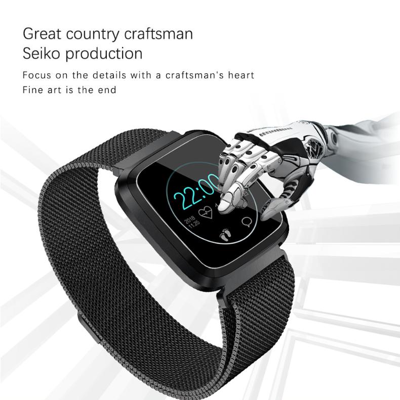 New L18 smart bracelet 1.3 color screen full metal heart rate blood pressure IP68 pedometer sleep silvery steel one 3