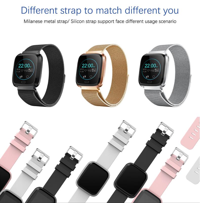 New L18 smart bracelet 1.3 color screen full metal heart rate blood pressure IP68 pedometer sleep silvery steel one 13