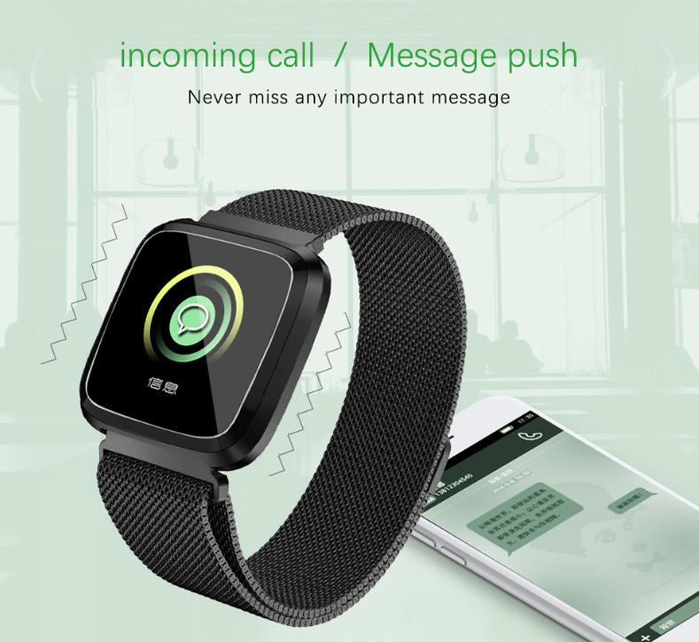 New L18 smart bracelet 1.3 color screen full metal heart rate blood pressure IP68 pedometer sleep silvery steel one 10