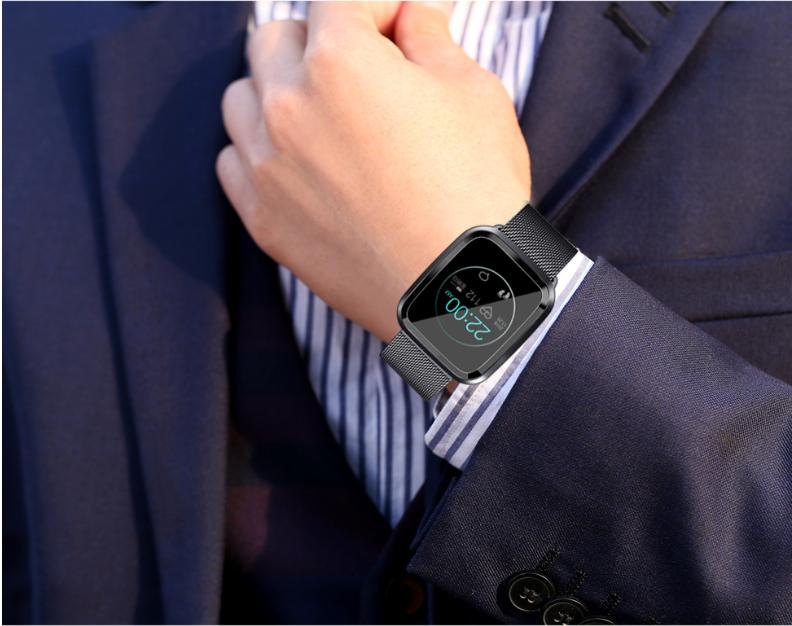 New L18 smart bracelet 1.3 color screen full metal heart rate blood pressure IP68 pedometer sleep silvery steel one 16