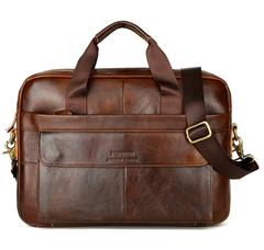 Leather men's briefcase leather men's cross business bag men's handbag Light coffee 38cm*27cm*7cm