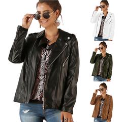 Women Black Slim Cool Lady PU Leather Jackets Sweet Female Zipper Faux Femme Outwear Coat black s
