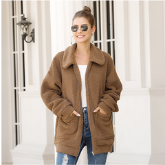 Winter arrival Women Cotton Fluffy Long Sleeve Jacket Ladies Warm Outerwear Cardigan Coat brown s