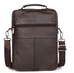Large men's leather high-grade multi-function Messenger bag business men's shoulder bag brown one