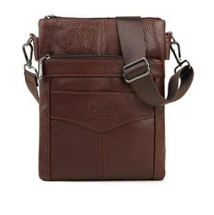 Leather double men's casual leather men's Messenger bag vertical men's shoulder bag brown one