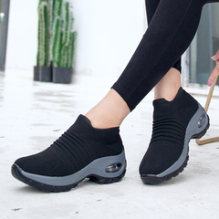 Women's shoes air cushion flying woven sneakers foot shoes fashion casual shoes socks shoes black 35