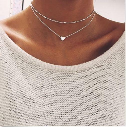Simple Double layers chain Heart Pendant Necklace Choker Women Jewelry silver general