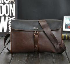 Men pu Leather shoulder messenger handbag Chest small wallet phone Clutch Bag Brown regular