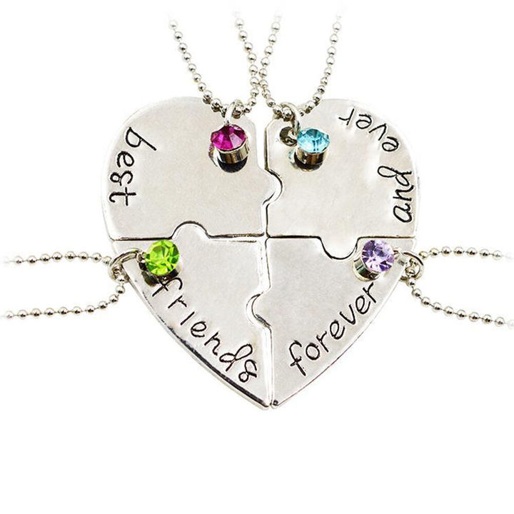 Best Friend Forever Necklace Crystal BFF Friendship Chain 4 Pendant trinke silver general
