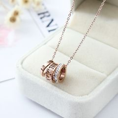 Fashion 18K Rose Gold Plated Hollow Roman Numeral Pendant Necklace Zircon Chain gold general