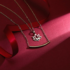 New fashionable double-layer alloy lotus Necklace gold general