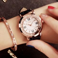 2ESTFASHION Women's Watch Flow Water Diamond English Watch Korean Fashion Student Belt Watch Women's black one size