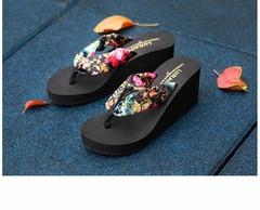 Luladi Bohemian Silk High-heeled Flip-flops black S